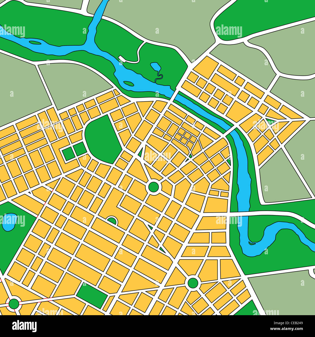 Map or plan of generic urban city showing streets and parks - Stock Image