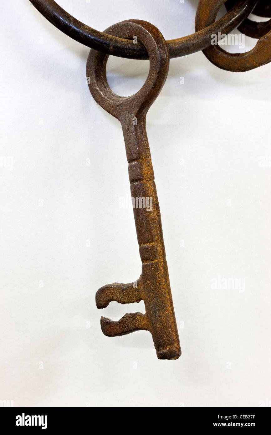 Rusty 'classic' metal skeleton key. - Stock Image