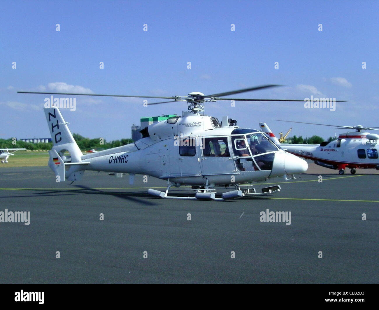 Eurocopter Dauphin SA 365 C3 helicopter with registration D-HNHC at the airfield of Bremerhaven - Stock Image