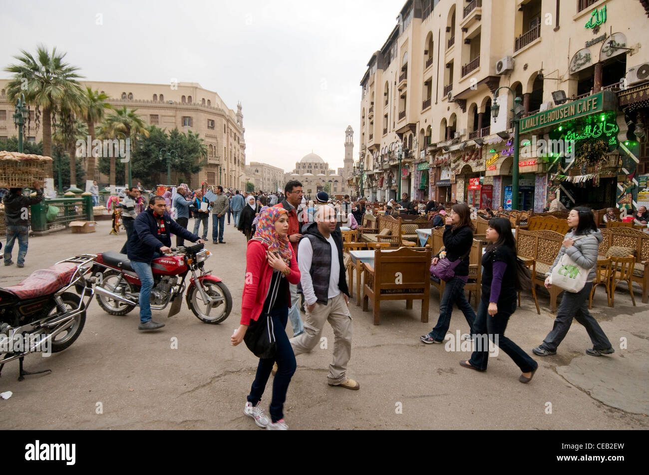 Cafes at entrance of Khan El Khalili market Old Cairo Egypt - Stock Image