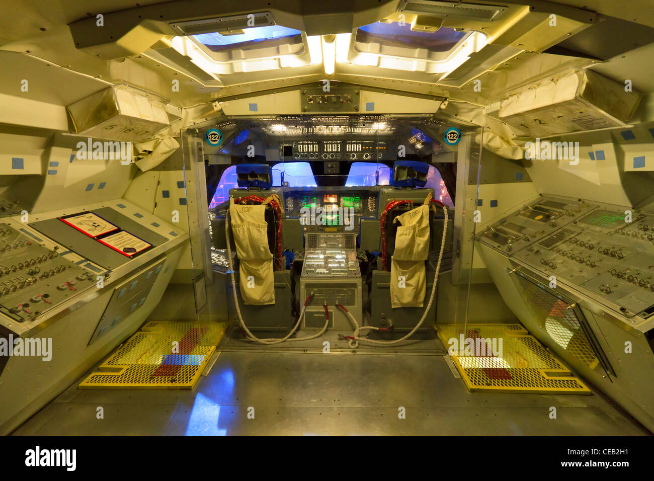 Replica of the flight deck of the Space Shuttle at the Johnson Space Center, Houston Stock Photo