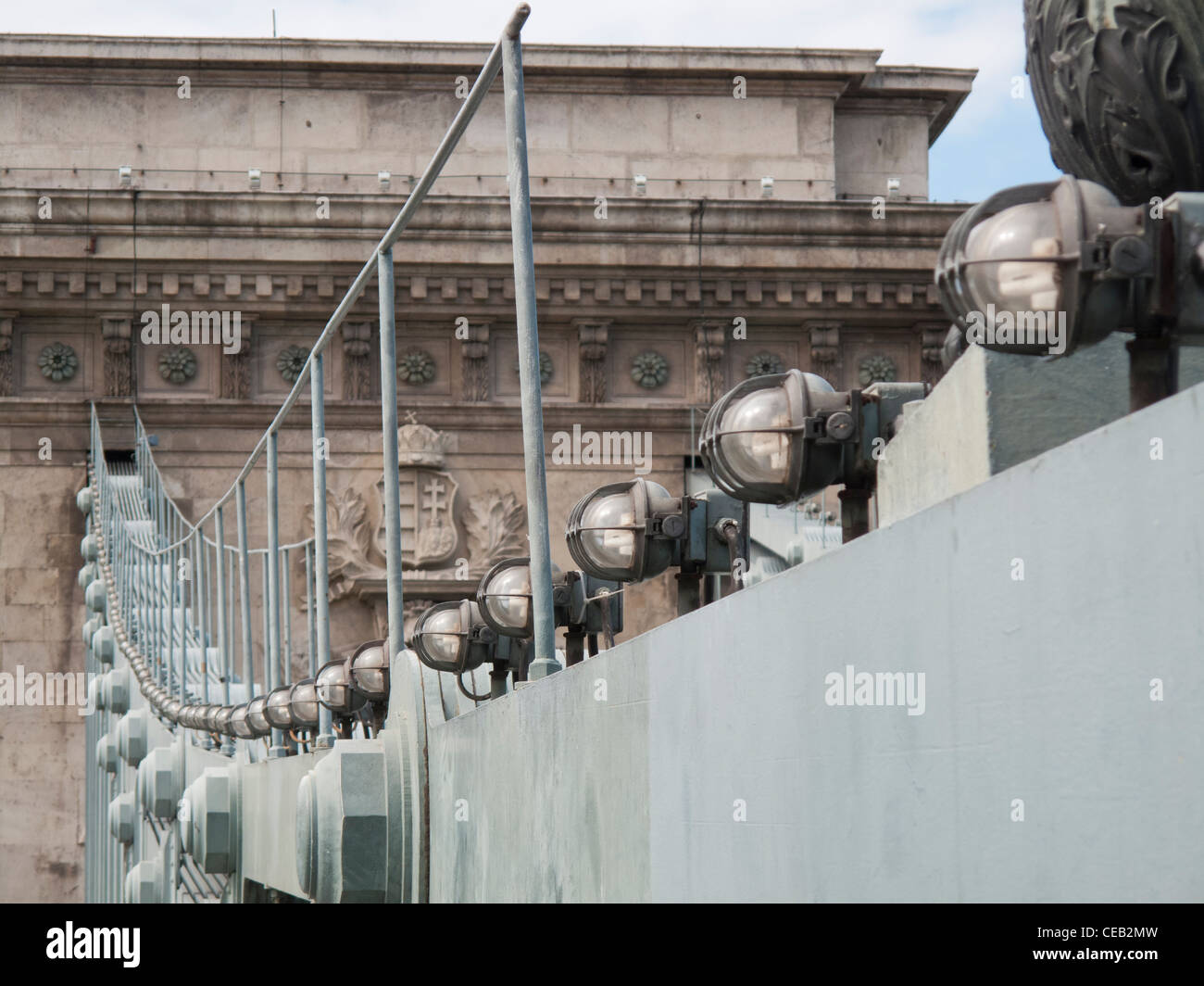 illumination system at the Chain Bridge over the Danube river, Budapest - Stock Image