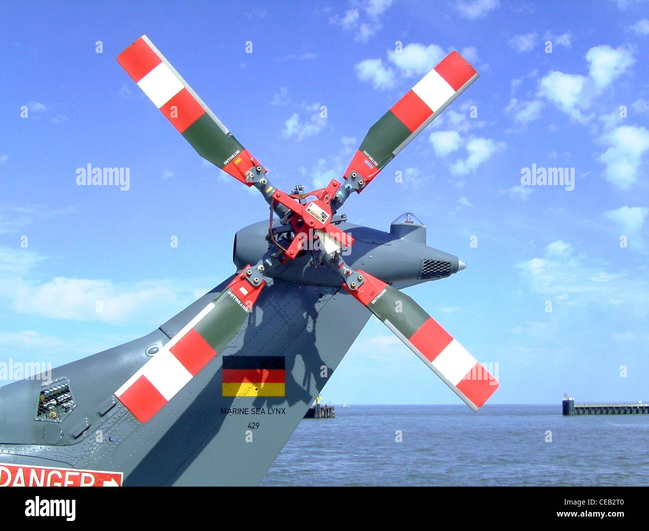 Tail rotor of a Sea Lynx MK 88 A helicopter of the German Navy - Stock Image