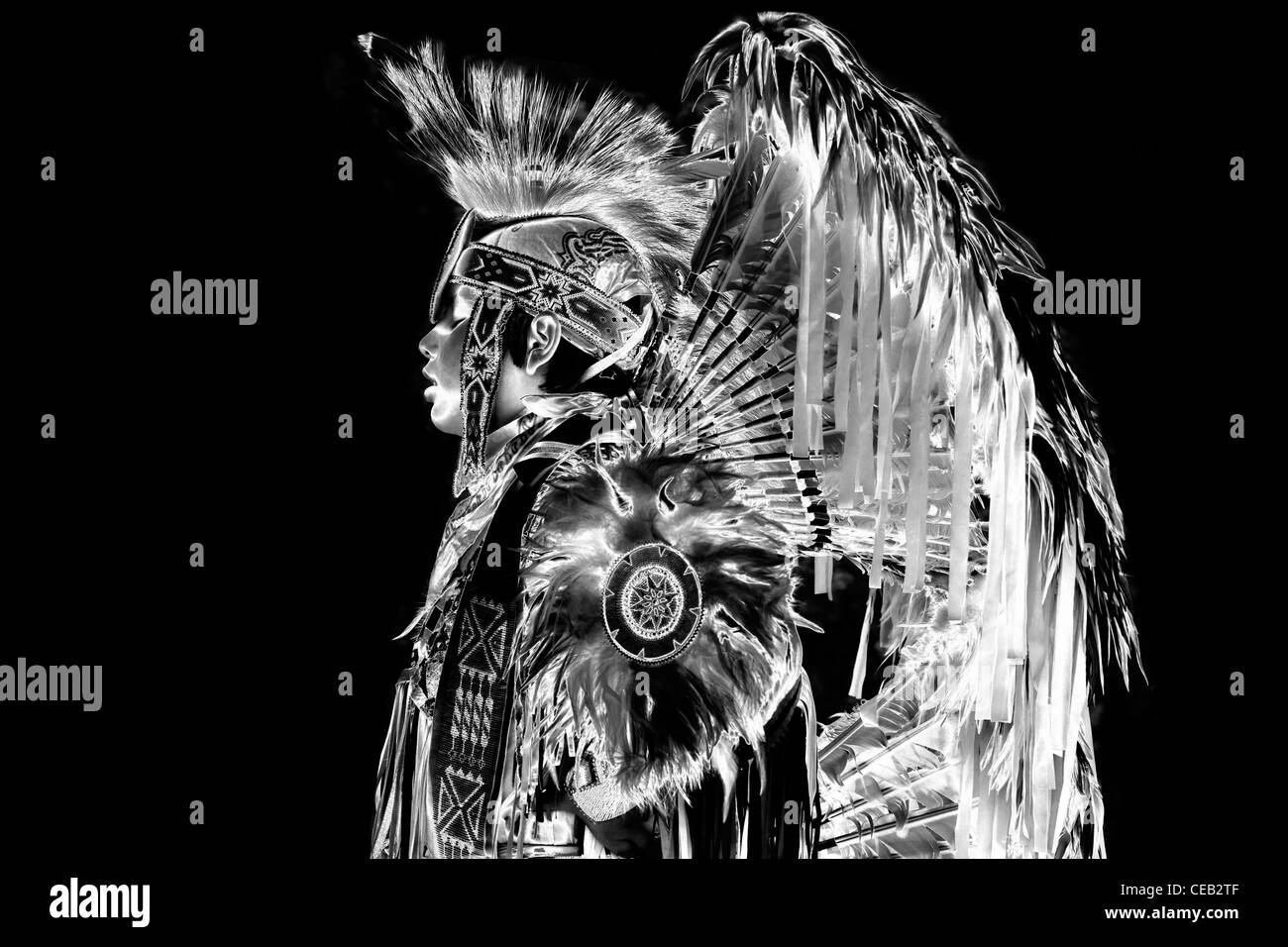 American Indian culture, black and white negative - Stock Image