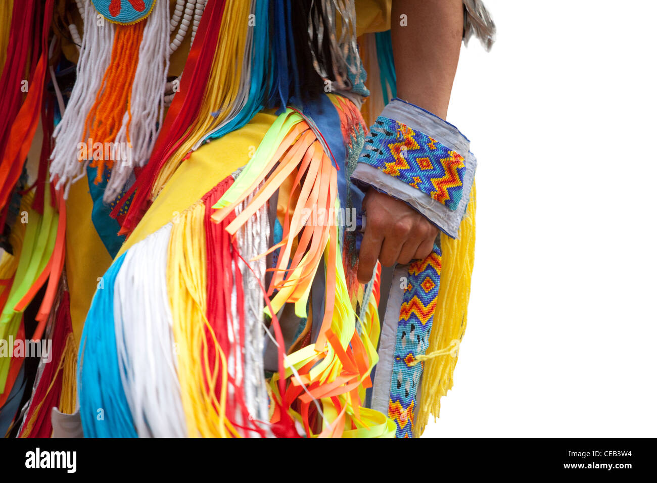 Detail of an Indian costume, American Indian pow wow, Georgia - Stock Image