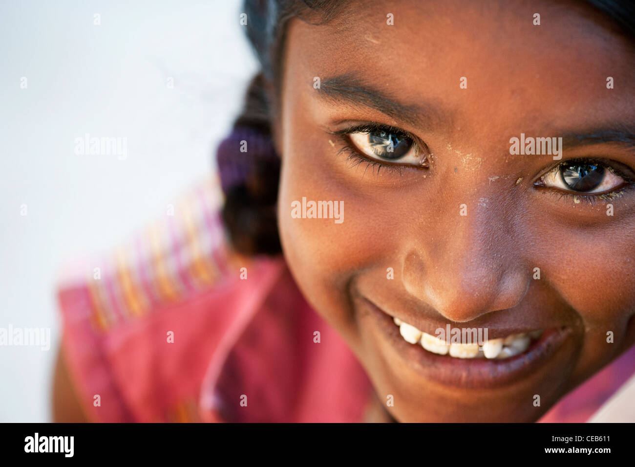 Happy young poor lower caste Indian street girl. Andhra Pradesh, India Stock Photo