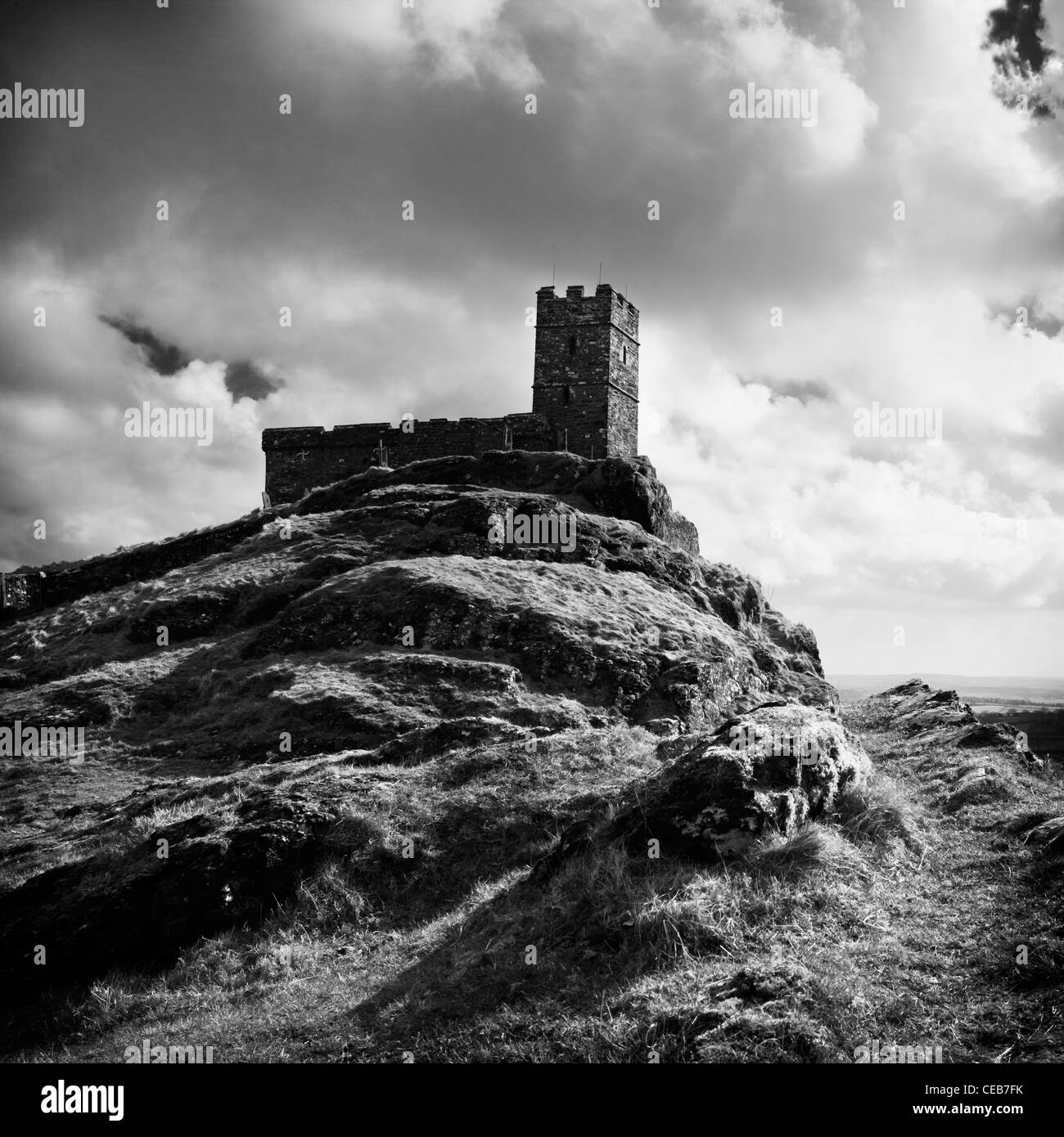 View of St Michael's Church at Brentor (Brent Tor) on the edge of Dartmoor near Mary Tavy and Tavistock. - Stock Image