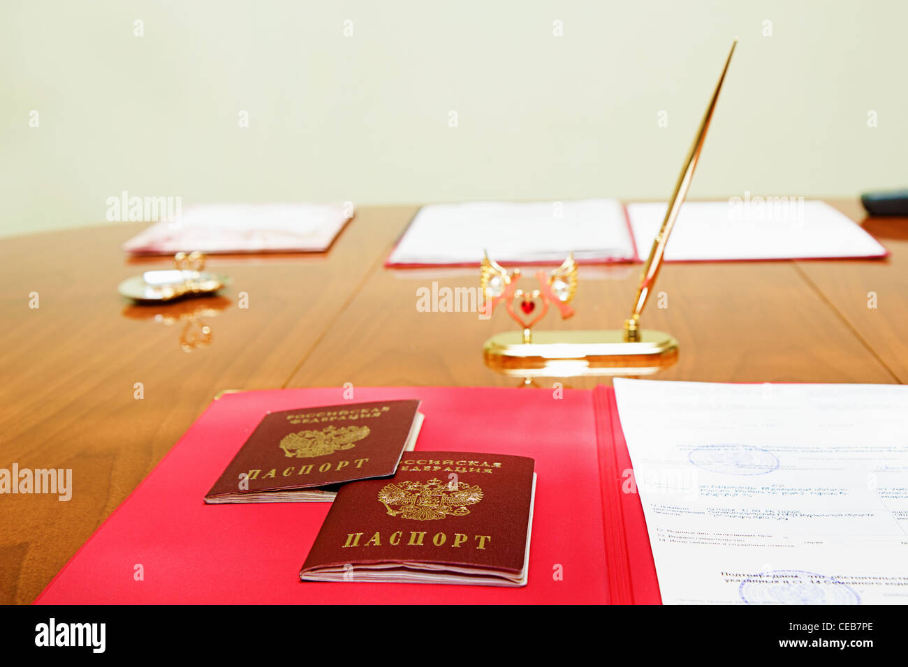 Table marriage with Russian passports Stock Photo