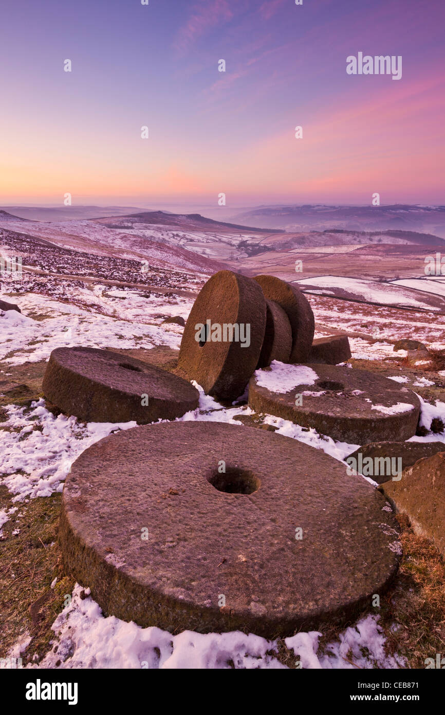 Wheelstones on Stanage edge Derbyshire peak district  England UK GB EU Europe - Stock Image