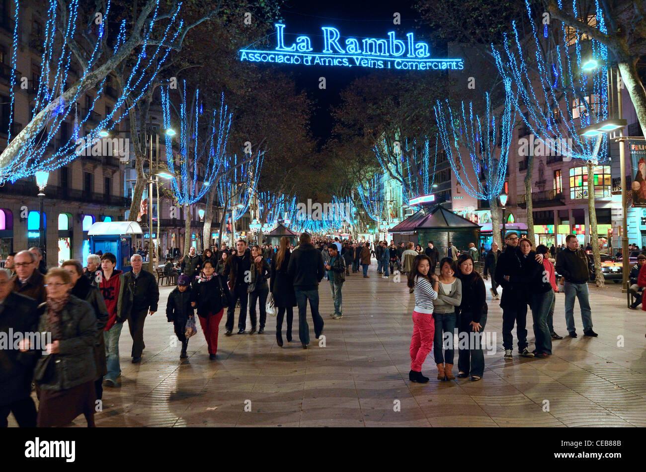 Barcelona, Spain. Christmas lights in La Rambla, 2011 - Stock Image