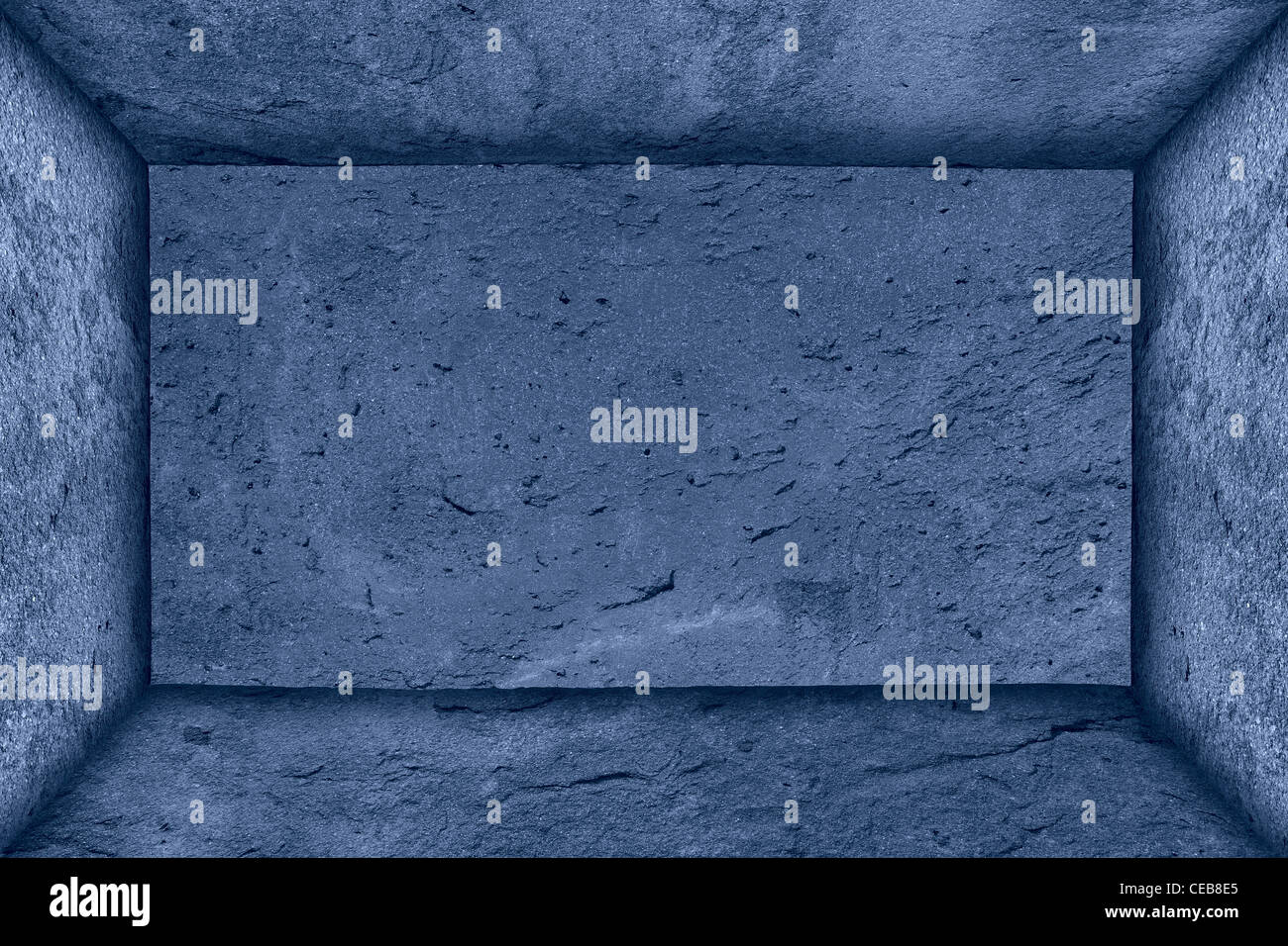 blue background, rectangle surrounded frame, all from rough framework - Stock Image