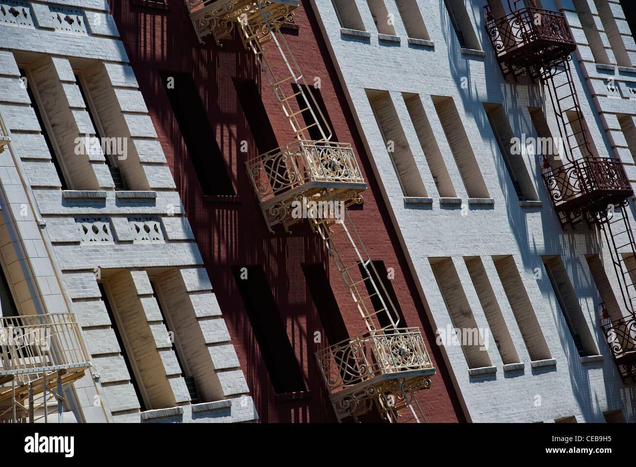 Fire escapes on a building facade. Downtown San Francisco, California. - Stock Image