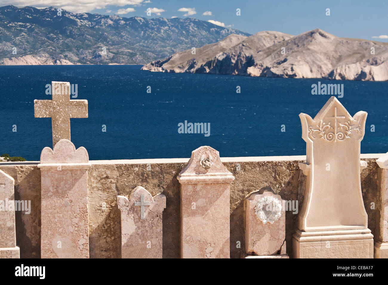 the beautiful old cemetery near Baska on island Krk - Croatia - Stock Image