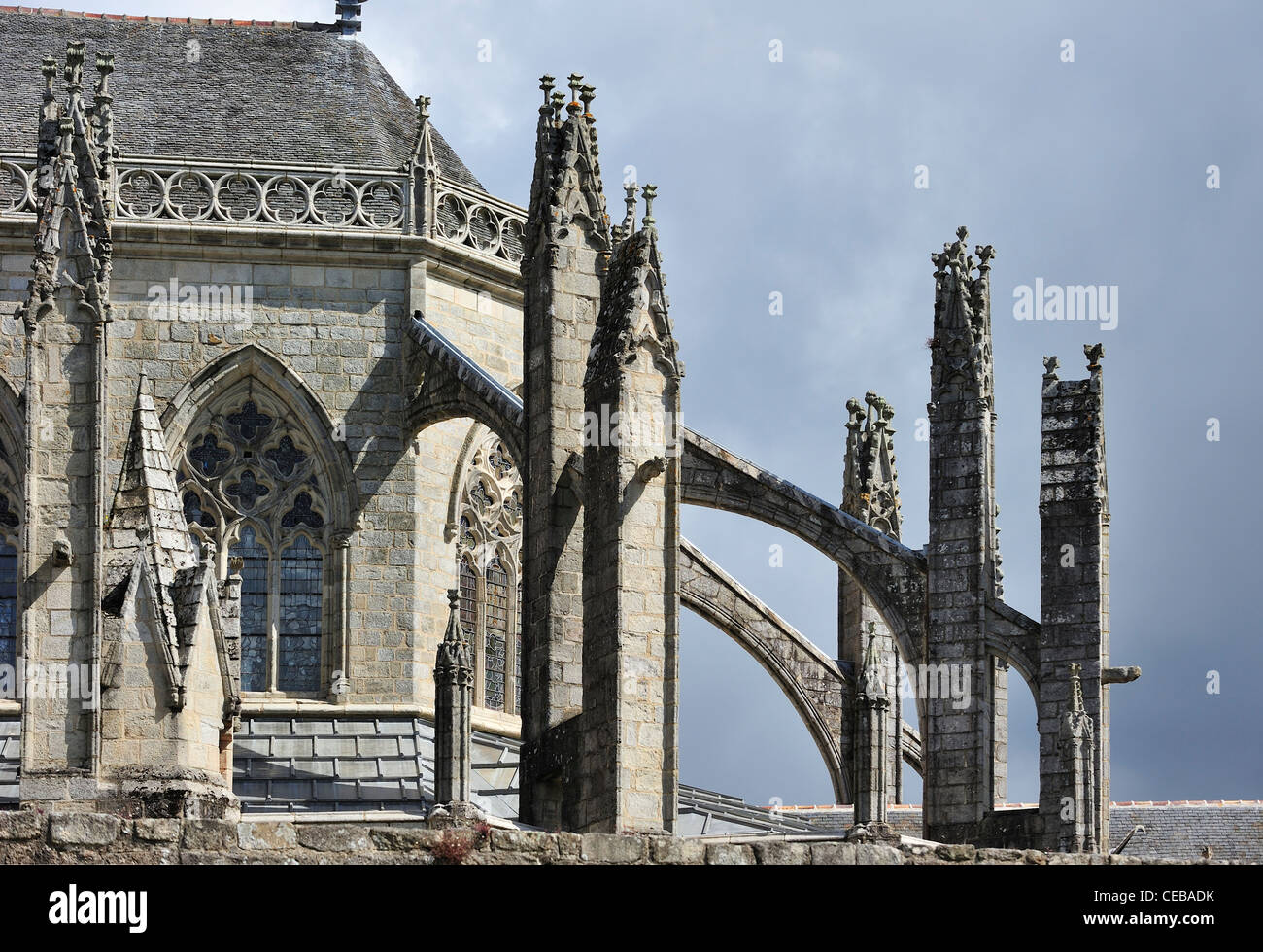 Flying Buttresses Of The Gothic Quimper Cathedral Cathedrale Saint Corentin De Finistere Brittany France