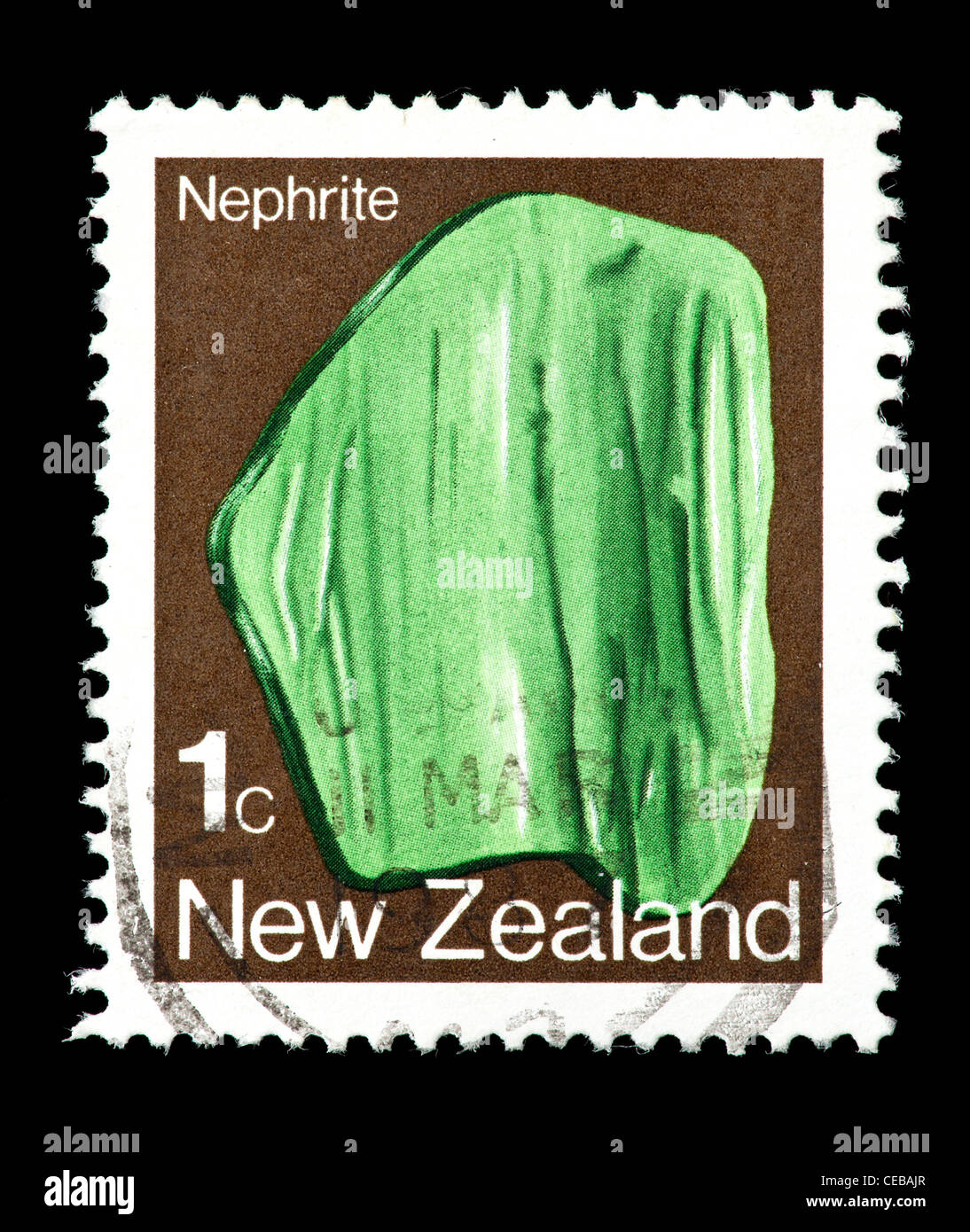 Postage stamp from New Zealand depicting nephrite crystals Stock Photo