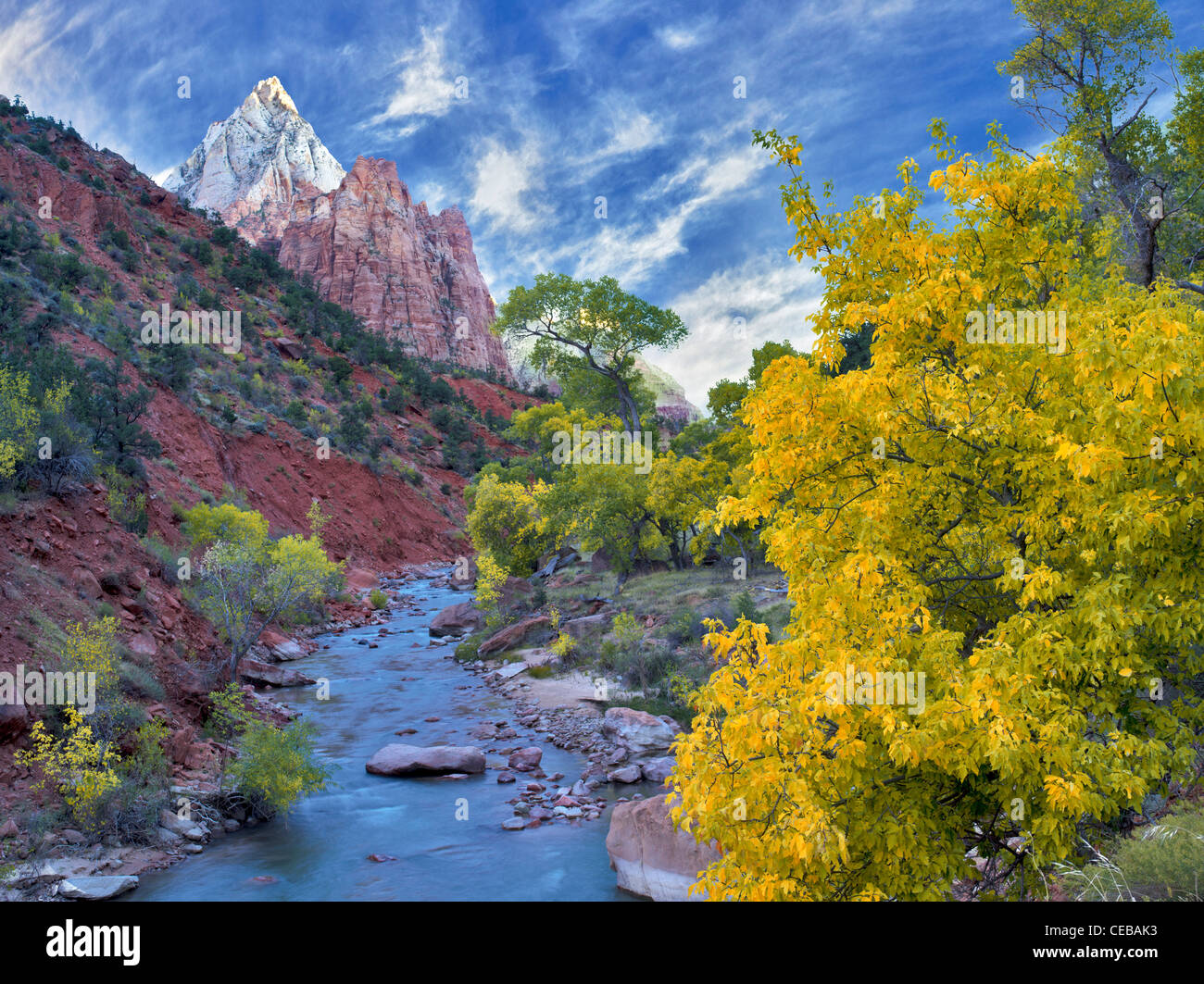 Virgin River and Three Patriarchs. Zion National Park, Utah. - Stock Image