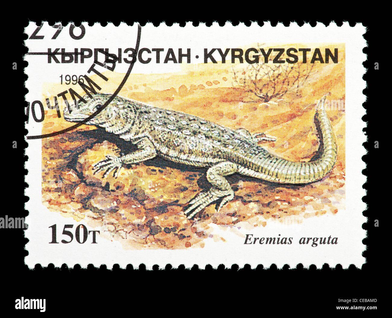 Postage stamp from Kazakhstan depicting a small lizard (Eremias arguta) - Stock Image