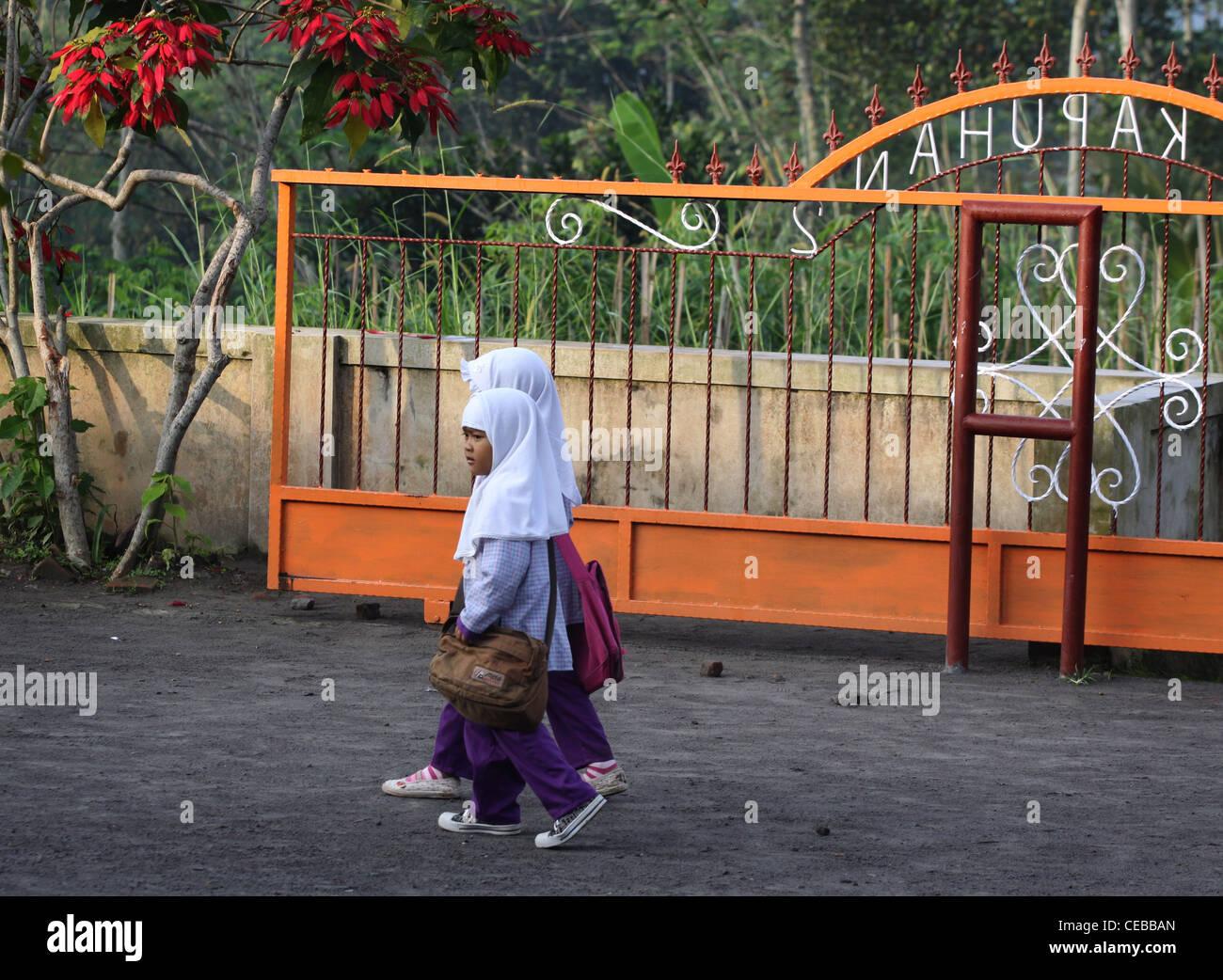 school children village Yogyakarta Indonesia - Stock Image