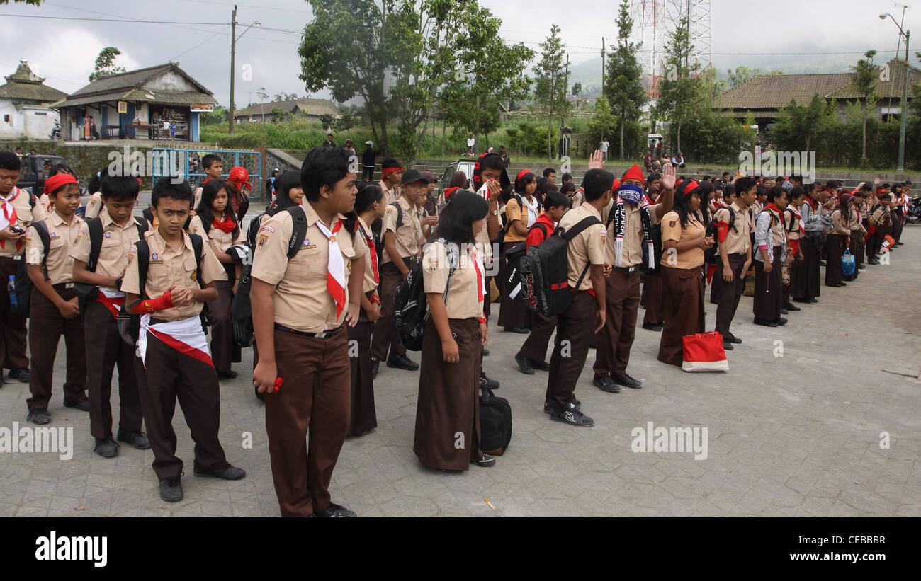 school children assembly village Yogyakarta Indonesia - Stock Image