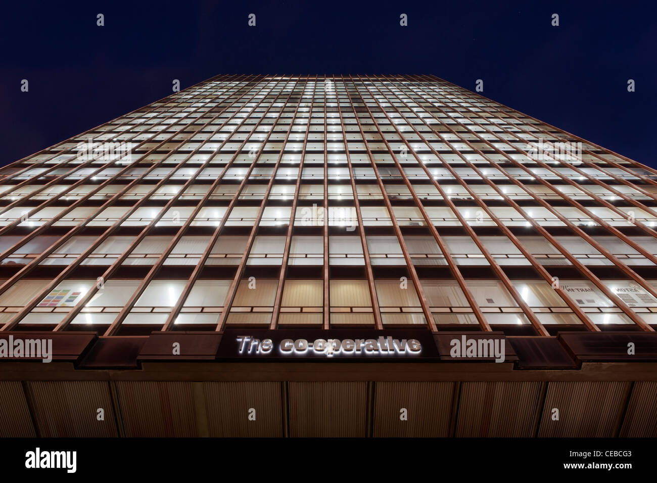 CIS Co-operative Insurance Tower located on Miller Street, Manchester, taken at night. - Stock Image