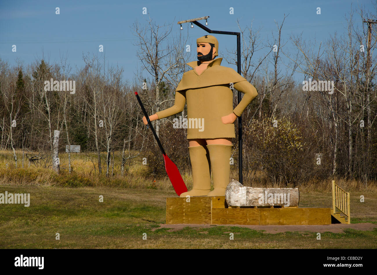 Statue of Pierre the Voyageur in Two Harbors, Minnesota in the North Shore area - Stock Image