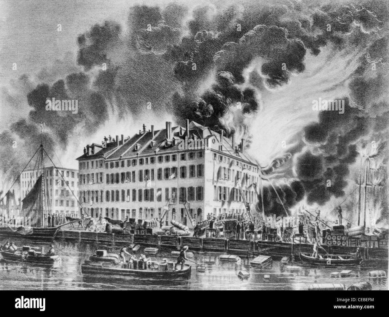 View of the great conflagration of Dec. 16th and 17th, 1835; from Coenties Slip, New York City Fire - Stock Image
