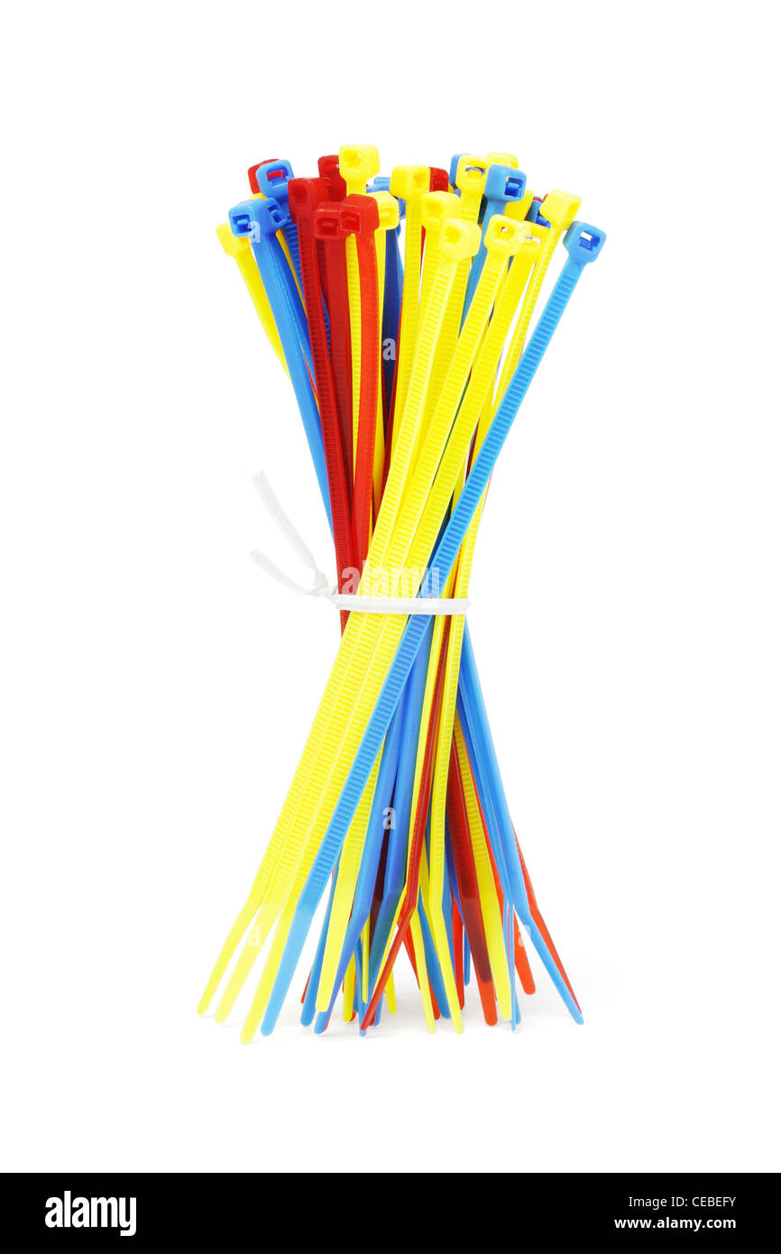 Bundle of Multicolor Nylon Cable Ties on White Background - Stock Image