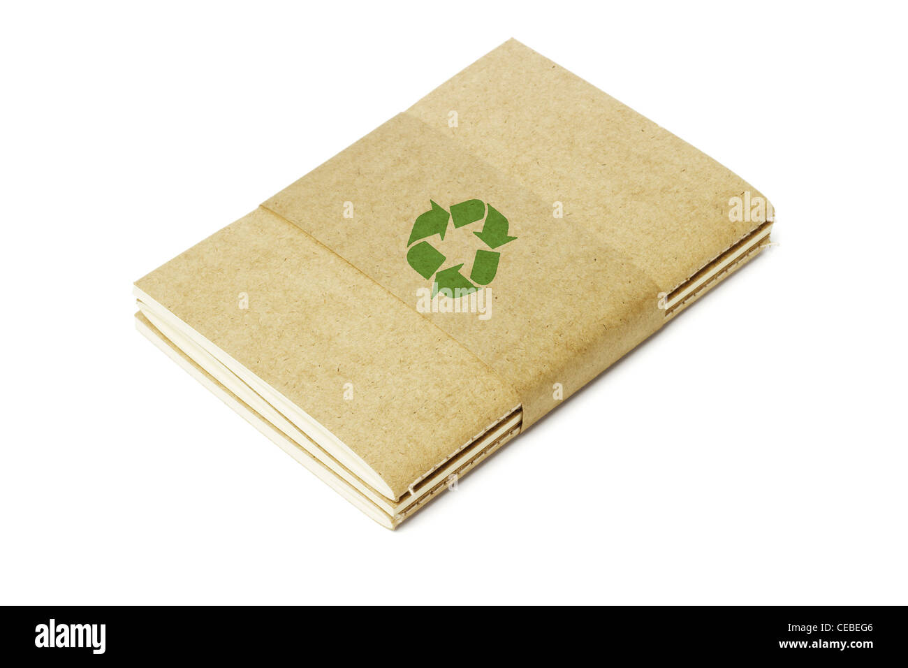 Thread Sew Books of Recycled Papers on White Background - Stock Image