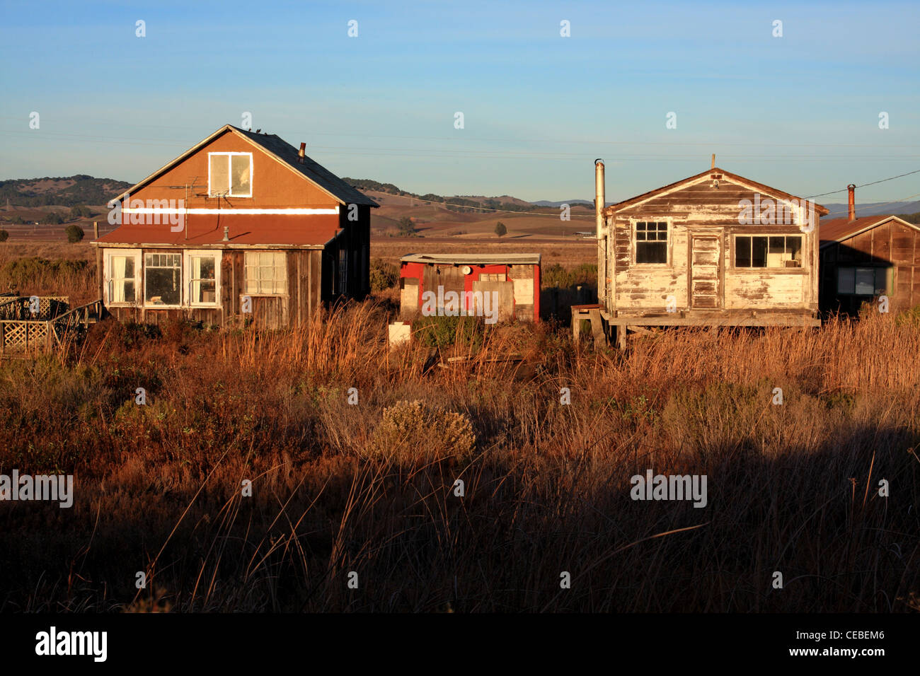 The ghost town of Wingo sits in the marshes north of San Pablo Bay, along the banks of Sonoma Creek. - Stock Image
