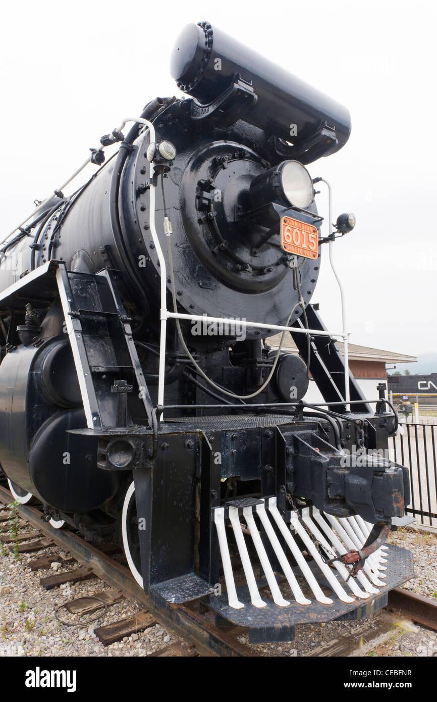 Canadian National Railways U-1-A class 4-8-2  locomotive No. 6015 (1923) on permanent display in Jasper, Alberta, - Stock Image