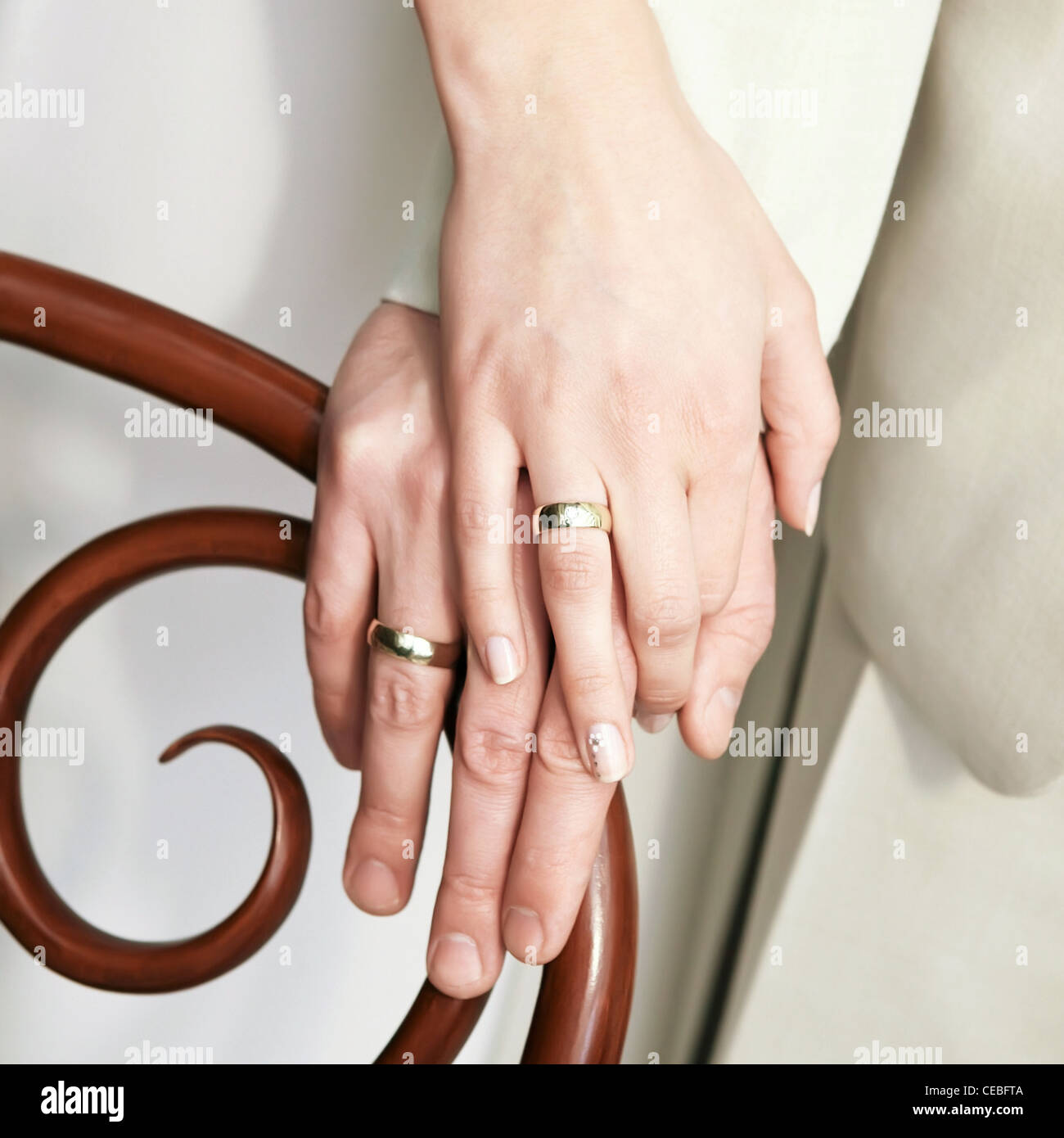 Just Married Couple Showing Up Wedding Rings Stock Photo 43279834