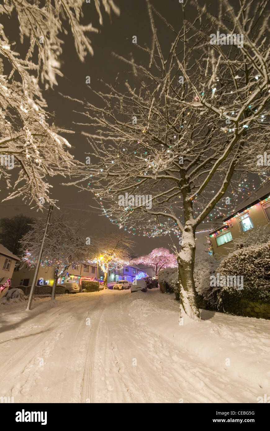 Christmas Lights and Decorations on Abbeydale Park Rise in Dore - Sheffield - Stock Image