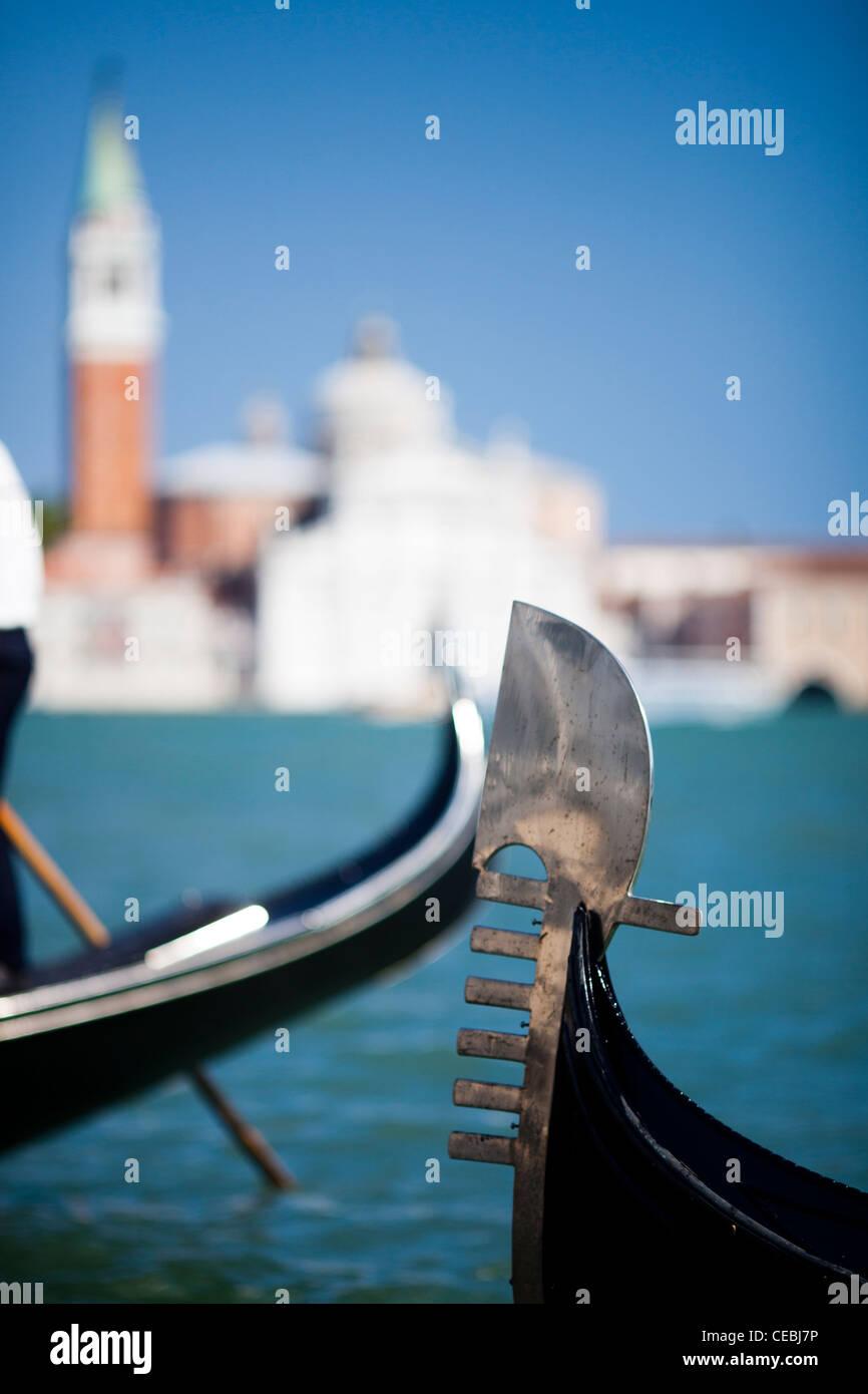 Ferro Di Gondola.Detail Of A Gondola Ferro Di Prua Or Prow Iron In Front