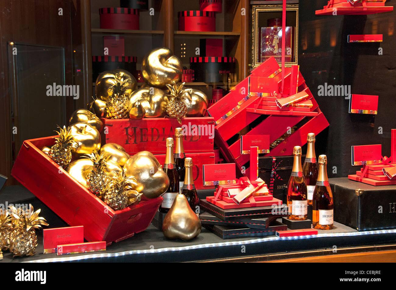Place de Madeleine Paris luxury food shop Hediard France - Stock Image