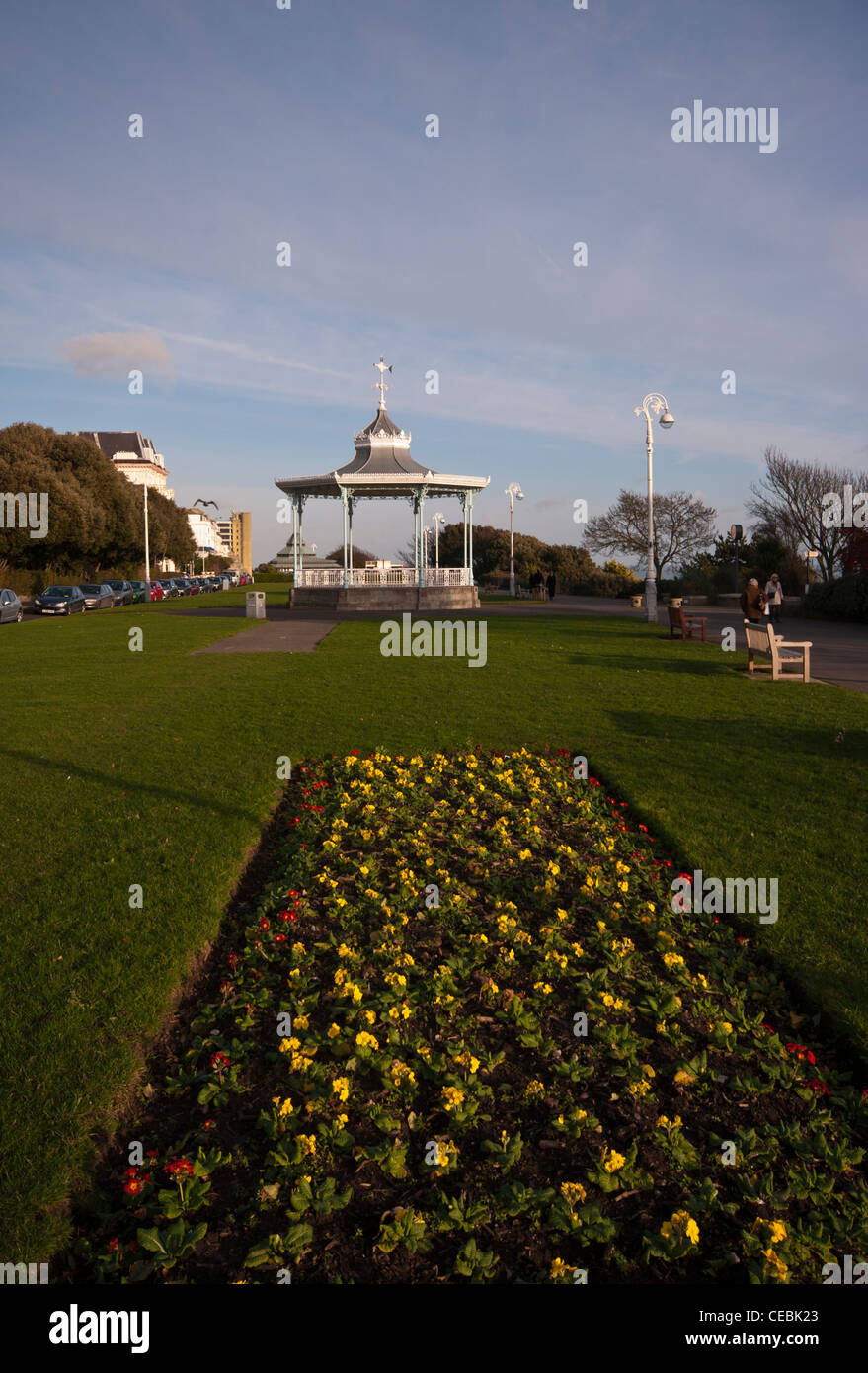 The Bandstand On The Promenade The Leas Folkestone Kent UK With A Spring Flower Bed Beds - Stock Image
