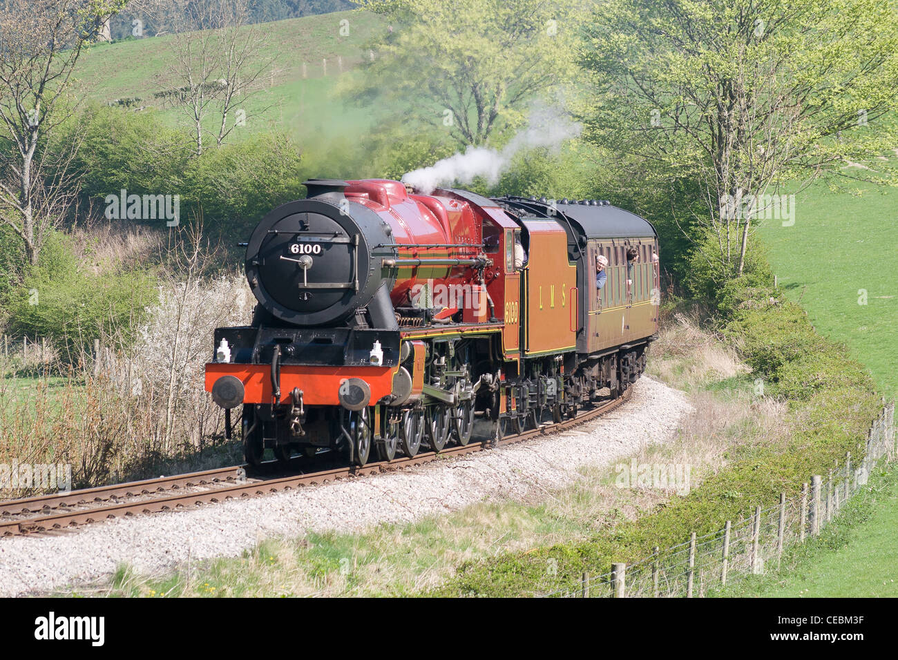 A steam locomotive, royal scot, with a passenger train on the Llangollen Railway - Stock Image