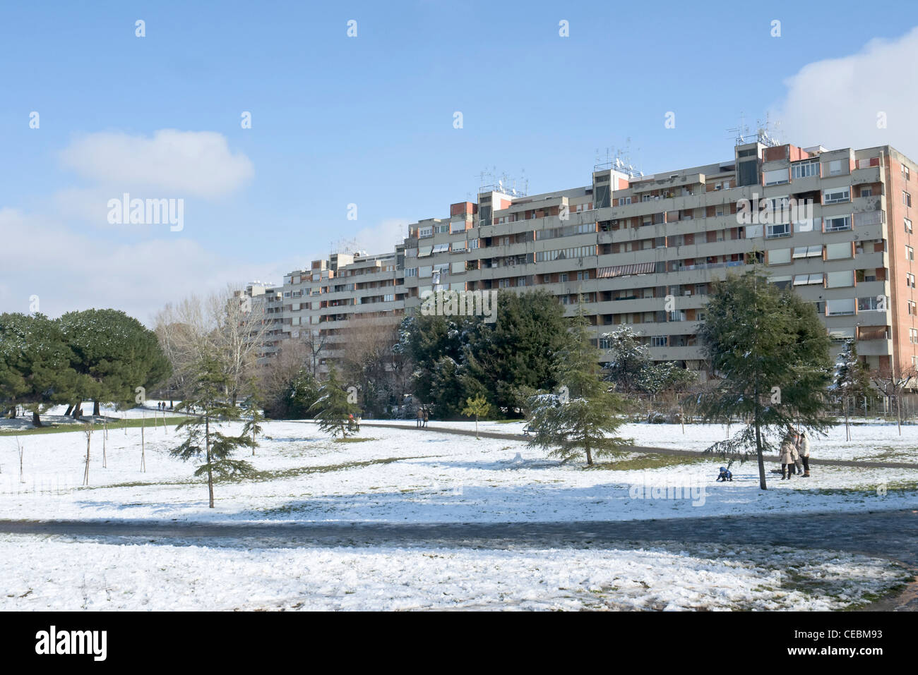 Quarto Lotto Apartment buildings in the Spinaceto district after a rare snowfall occurred on February 4th, 2012, - Stock Image