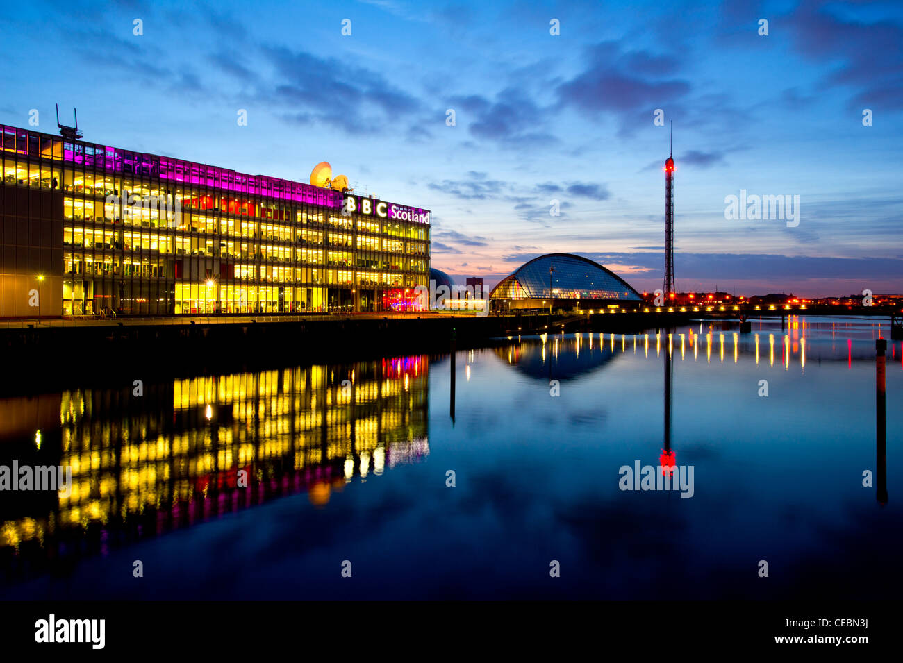 Glasgow Science Centre & Tower with BBC Scotland building, Glasgow, Scotland, UK . - Stock Image