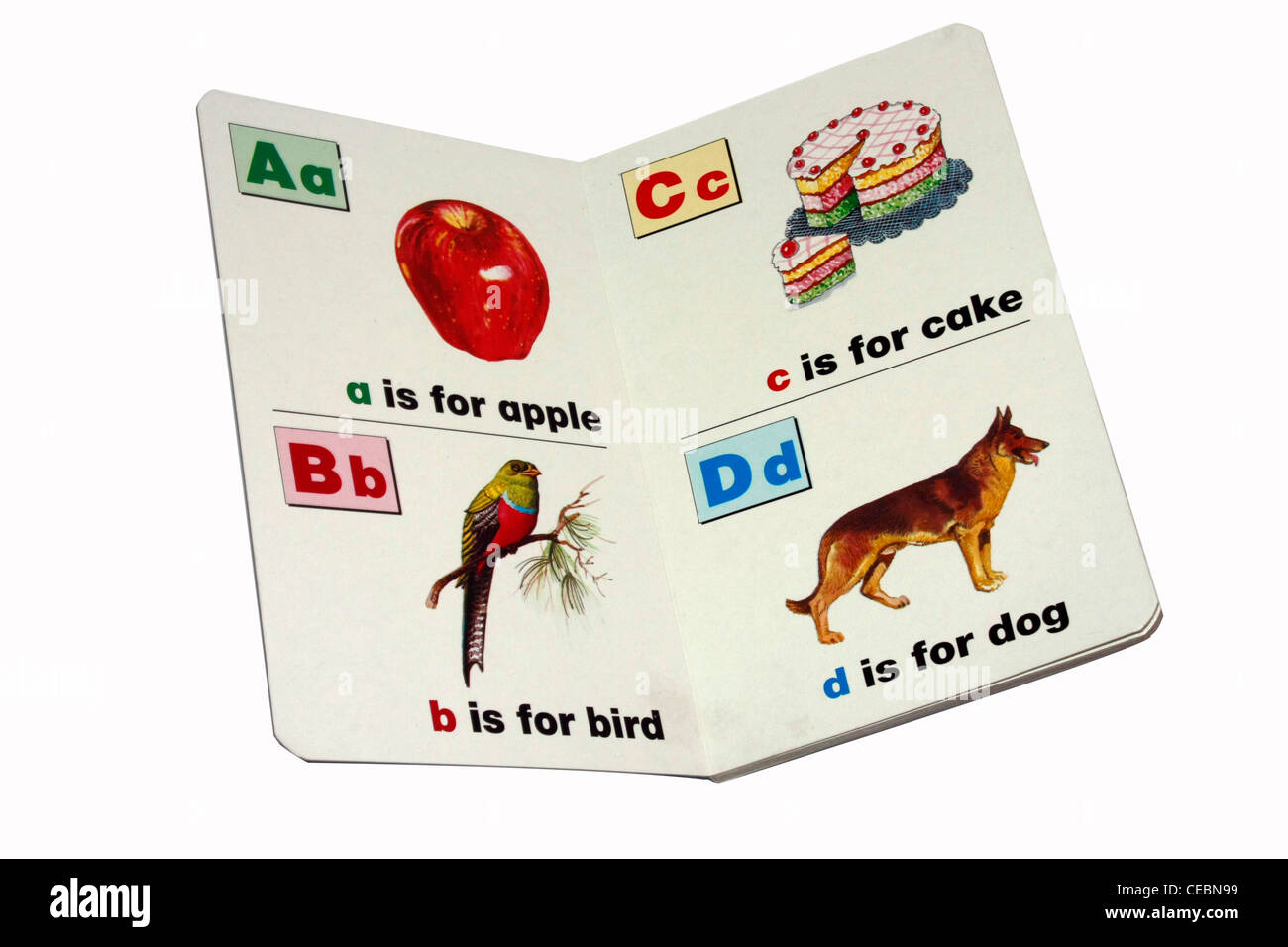 Nursery alphabet book for basic learning - Stock Image