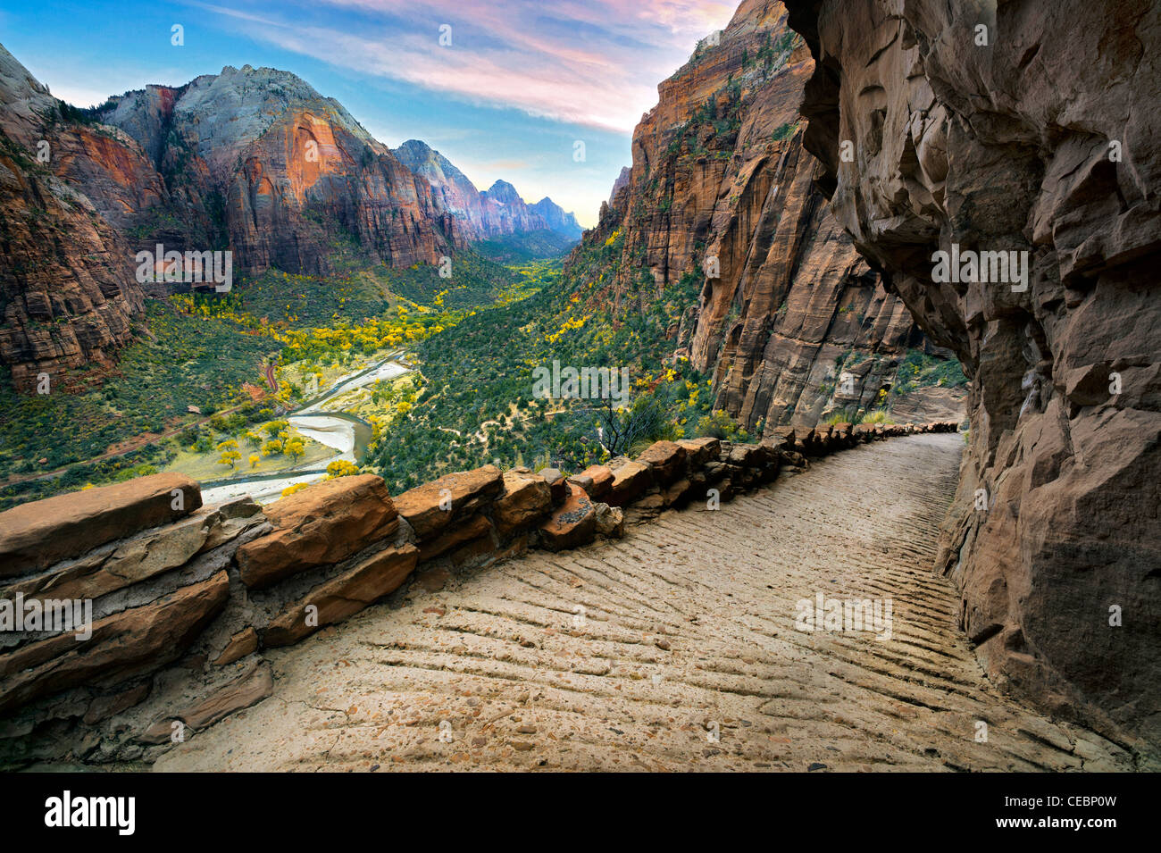 Angel's Landing trail and view of zion valley. Zion National Park, Utah - Stock Image