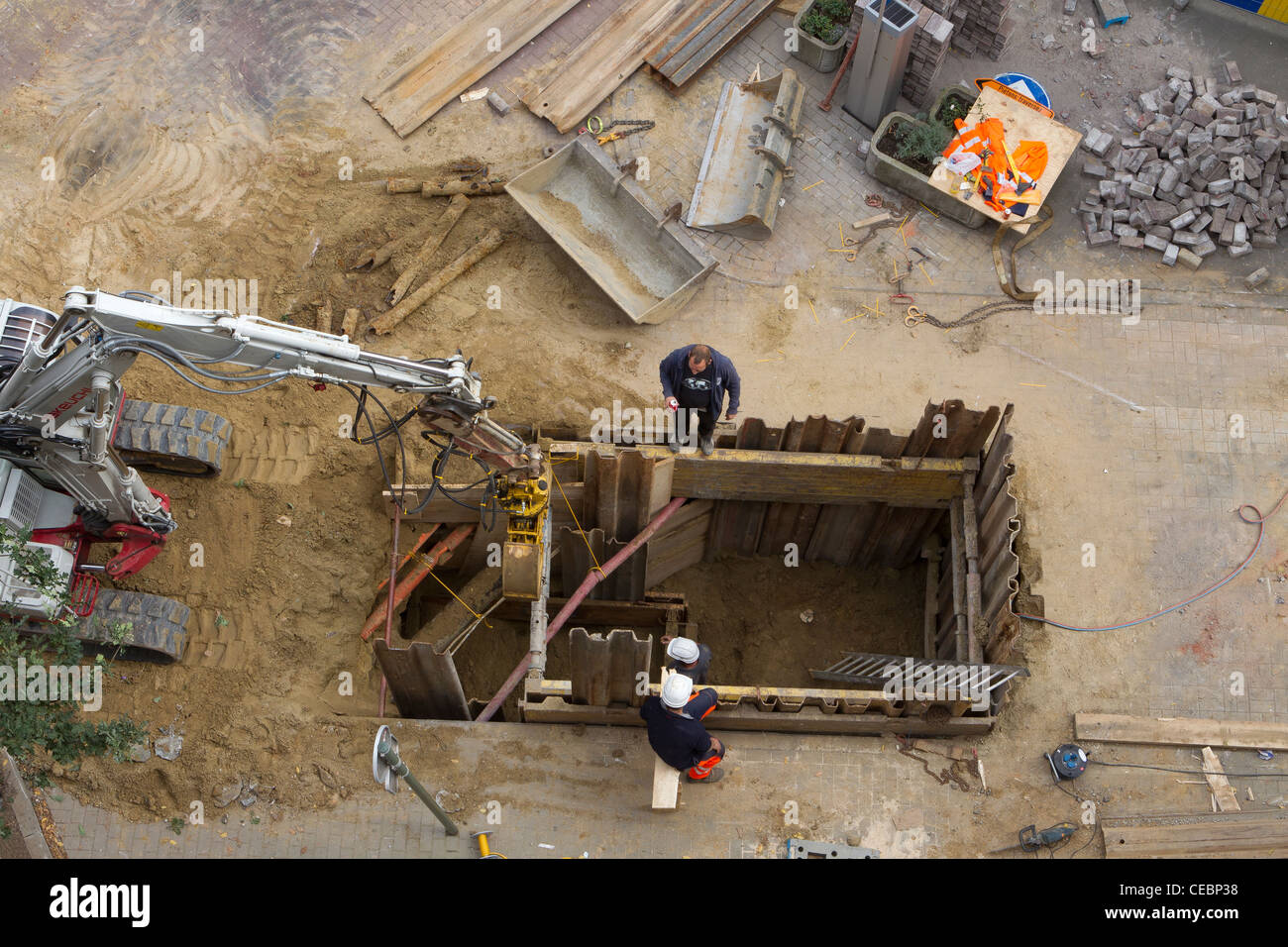 construction workers doing road works - Stock Image