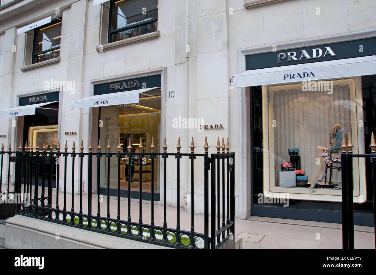 Prada high fashion mode  Paris Avenue Montaigne Stock Photo