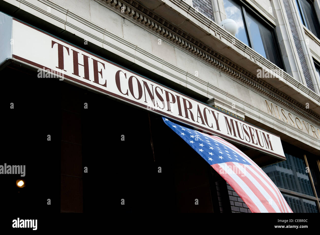 A sign for The Conspiracy Museum in Dallas, Texas - Stock Image