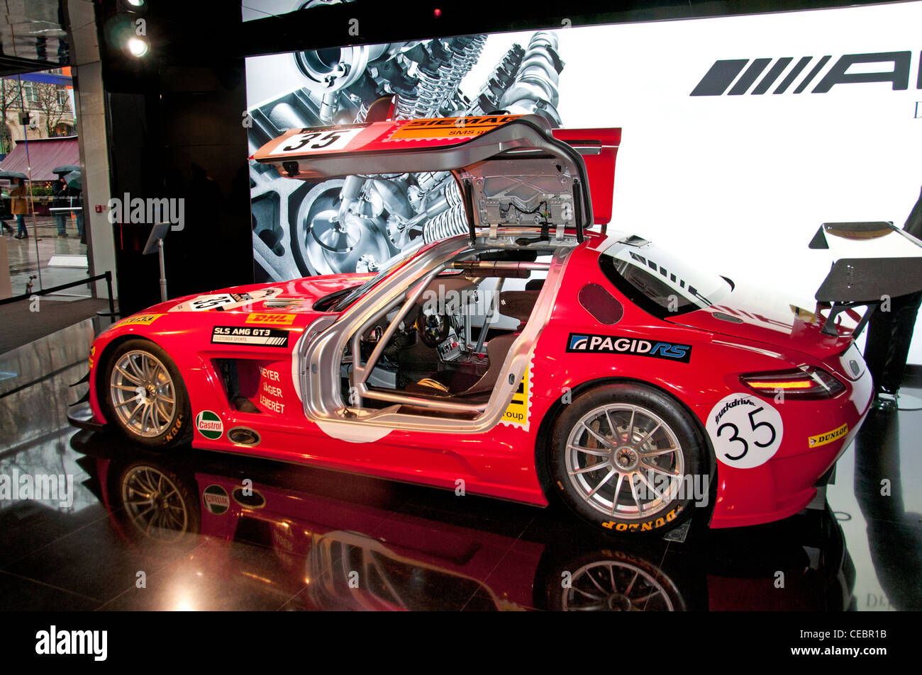 Mercedes Benz SLS AMG GT3 racing car Showroom Champs Elysees Paris - Stock Image