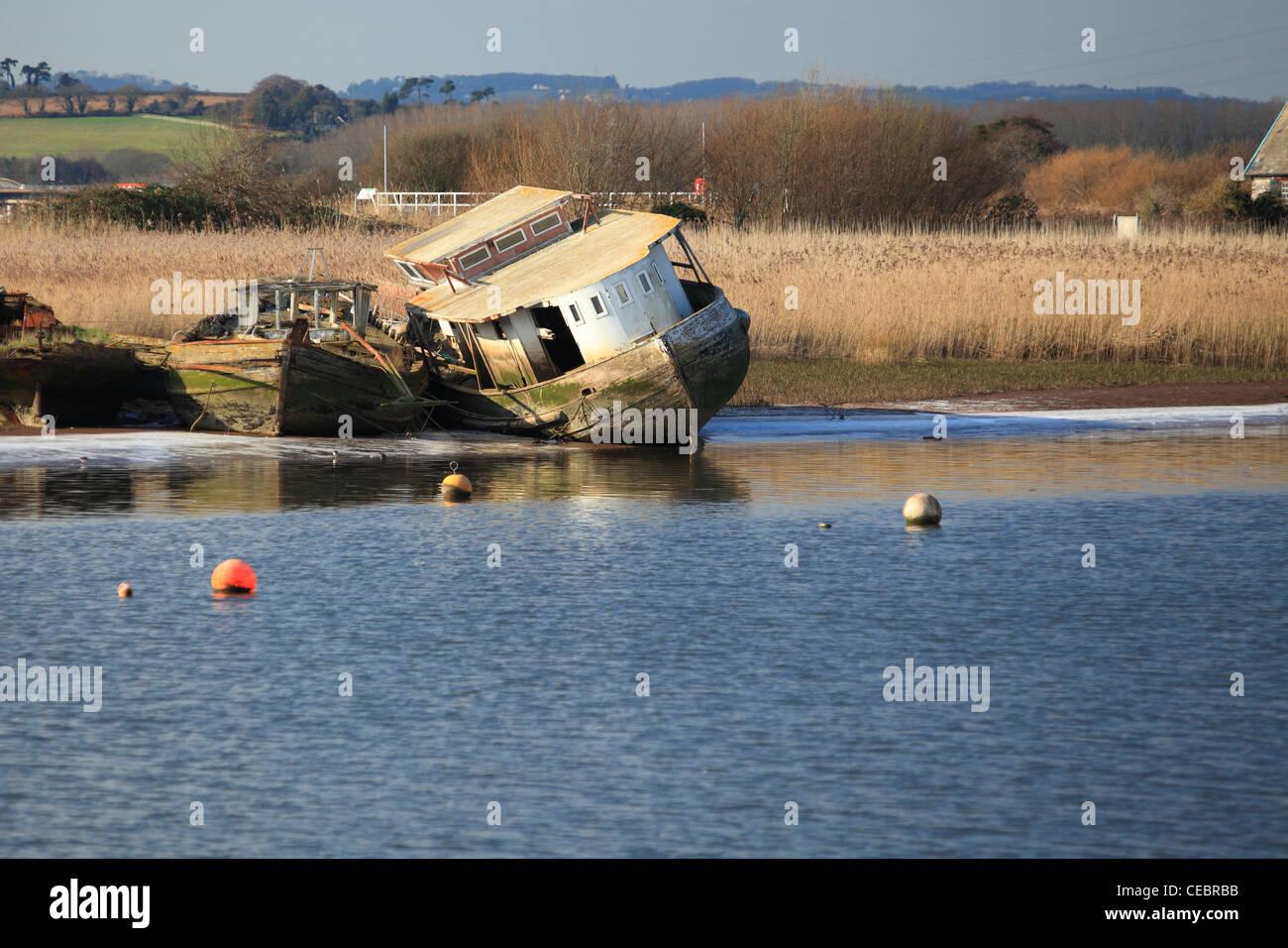 Old boats,Topsham, Exe estuary, Devon, England, UK - Stock Image