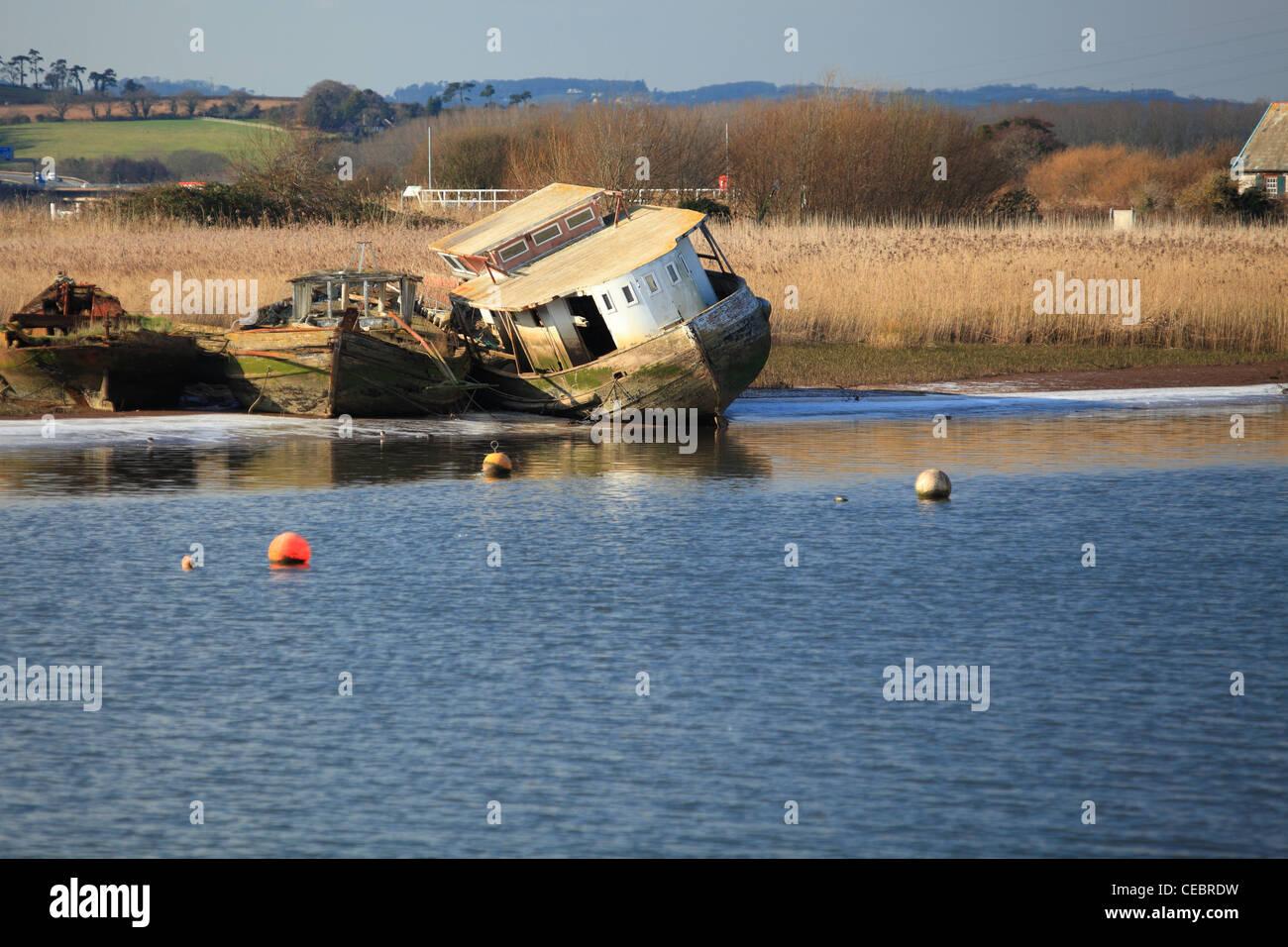 Old boats, Topsham, Exe estuary, Devon, England, UK - Stock Image