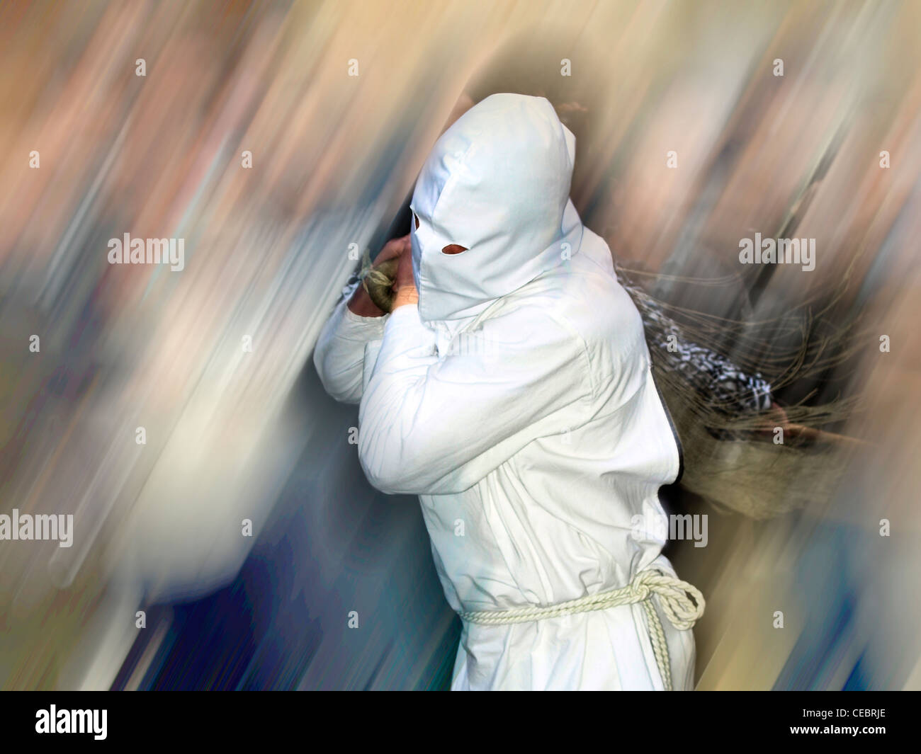 traditional penitents in San Vicente de la Sonsierra (La Rioja) - Stock Image