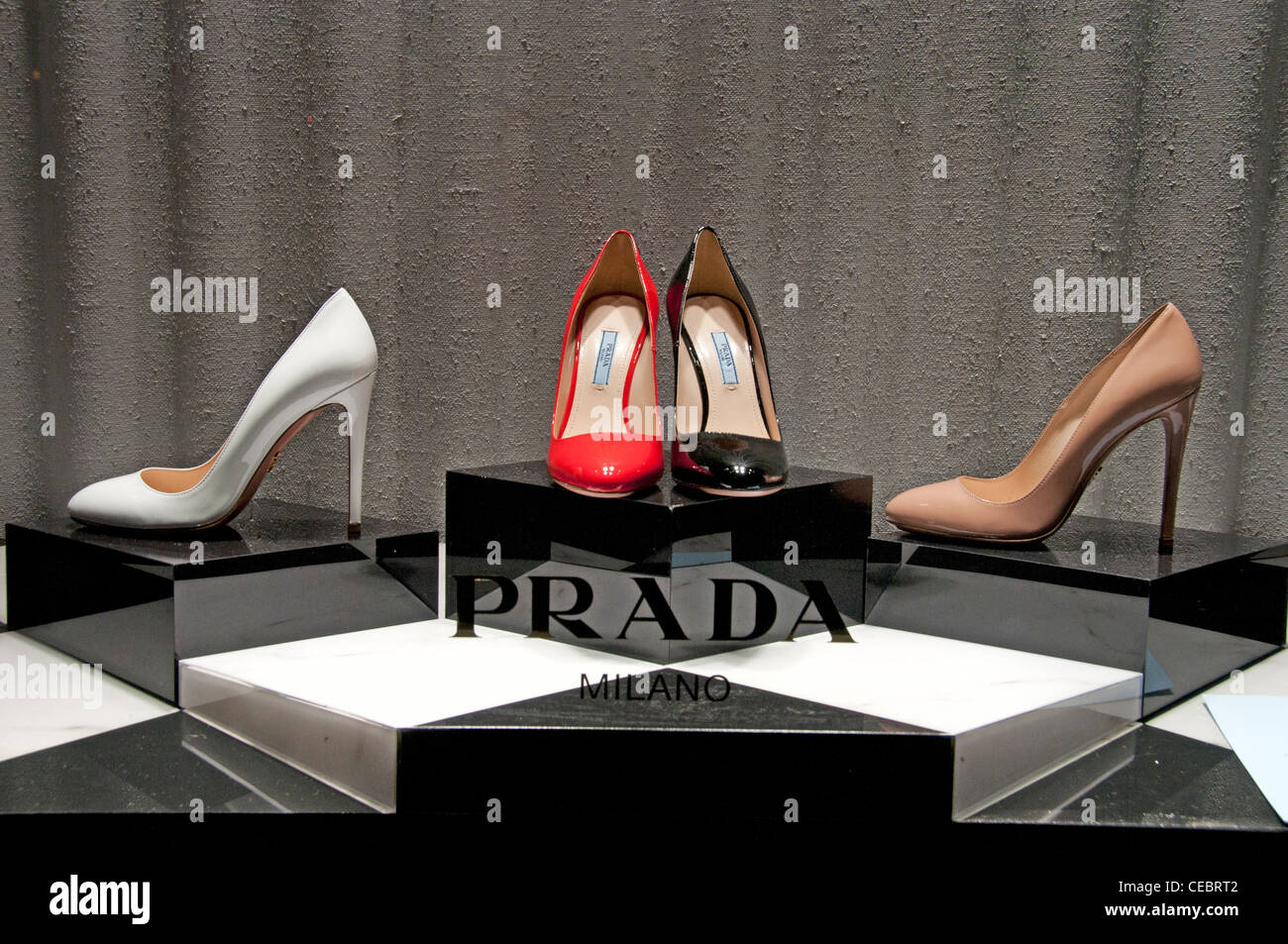 Prada Store Paris Avenue Montaigne high fashion designer couturier France Stock Photo