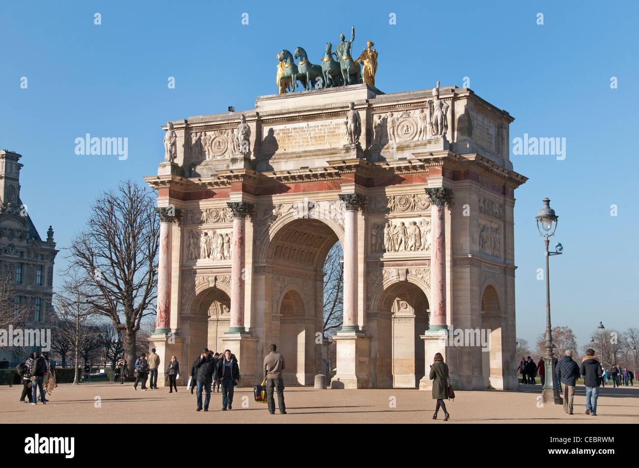 Arc de Triomphe du Carrousel  Tuileries Museum Musee du Louvre Paris France - Stock Image