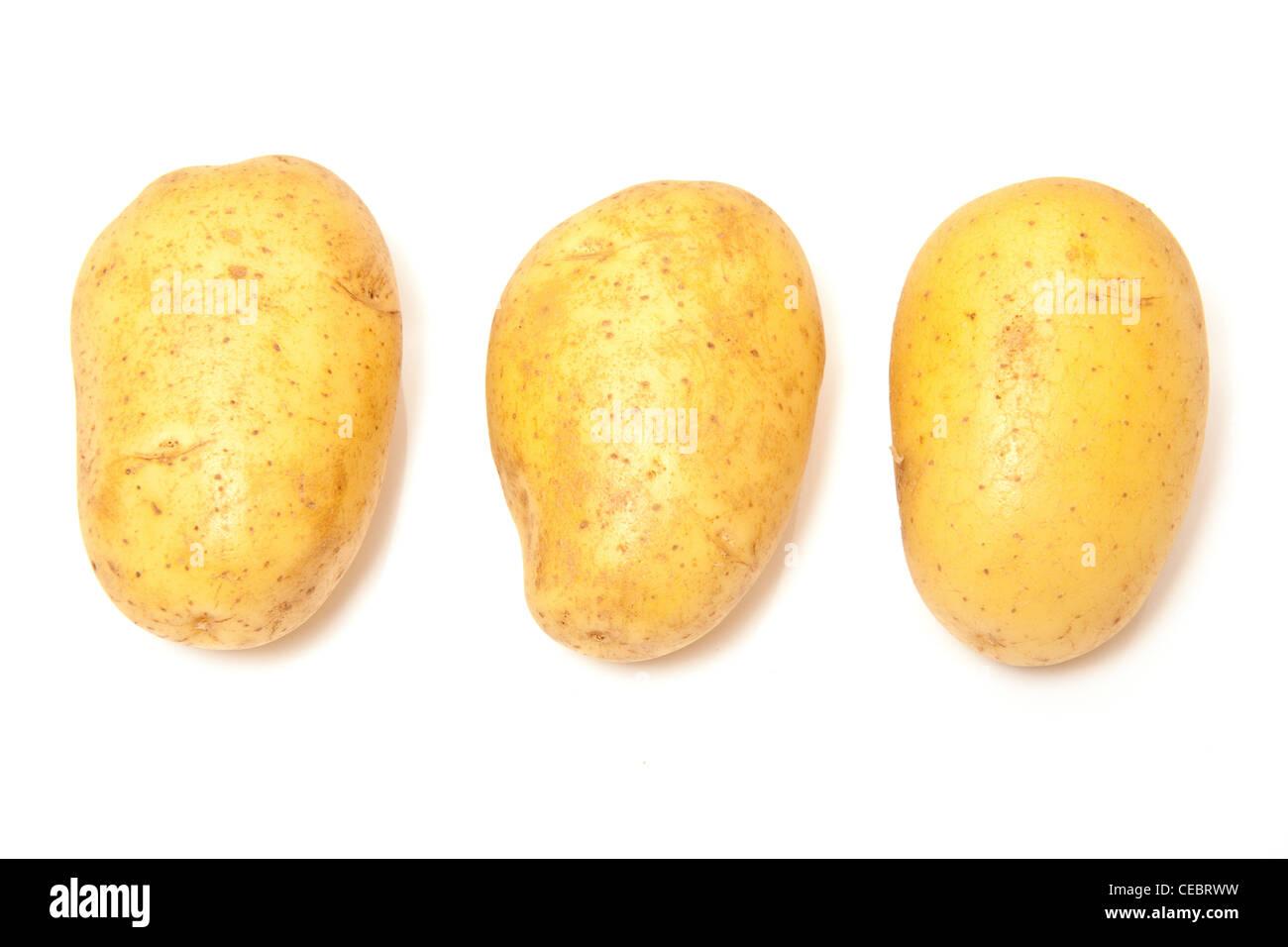 Vivaldi baking potatoes isolated on a white studio background. - Stock Image